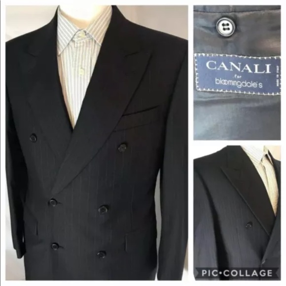 Canali Other - CANALI 39R Double Breasted Navy Striped Blazer